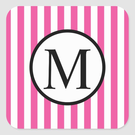 Simple Monogram with Pink Vertical Stripes Square Sticker