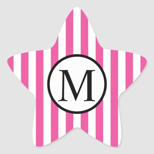 Simple Monogram with Pink Vertical Stripes Star Sticker