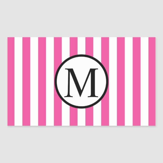 Simple Monogram with Pink Vertical Stripes Sticker