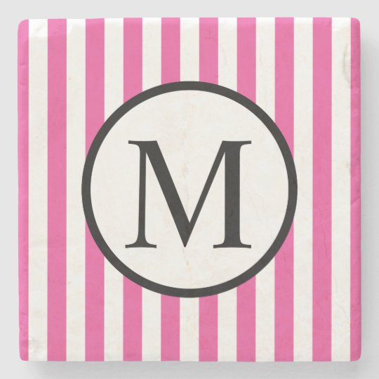 Simple Monogram with Pink Vertical Stripes Stone Beverage Coaster