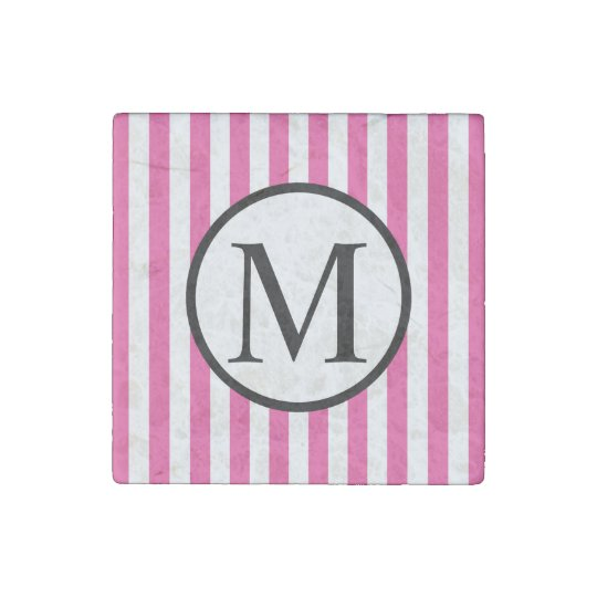 Simple Monogram with Pink Vertical Stripes Stone Magnets