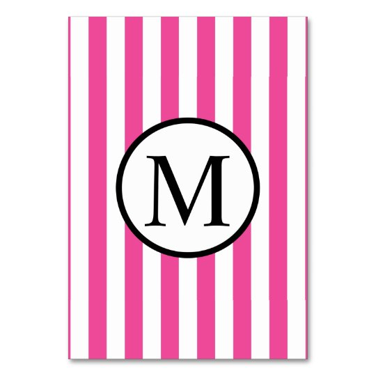 Simple Monogram with Pink Vertical Stripes Table Cards