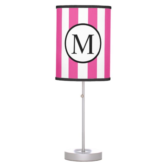 Simple Monogram with Pink Vertical Stripes Table Lamp