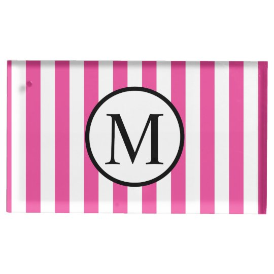 Simple Monogram with Pink Vertical Stripes Table Number Holder