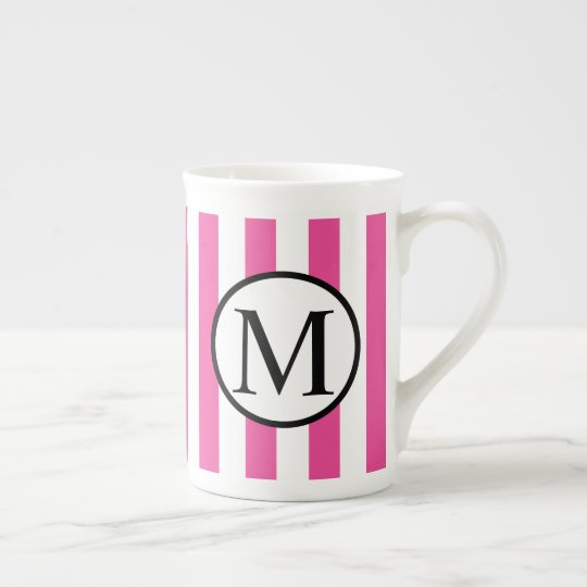 Simple Monogram with Pink Vertical Stripes Tea Cup