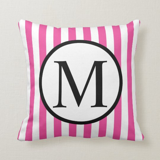 Simple Monogram with Pink Vertical Stripes Throw Pillow