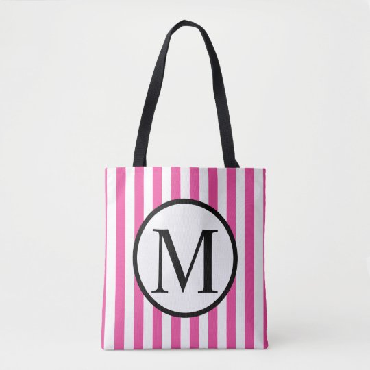 Simple Monogram with Pink Vertical Stripes Tote Bag