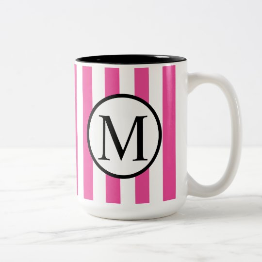 Simple Monogram with Pink Vertical Stripes Two-Tone Coffee Mug