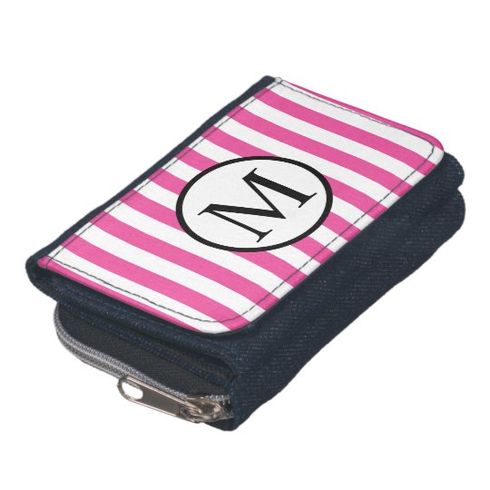 Simple Monogram with Pink Vertical Stripes Wallet