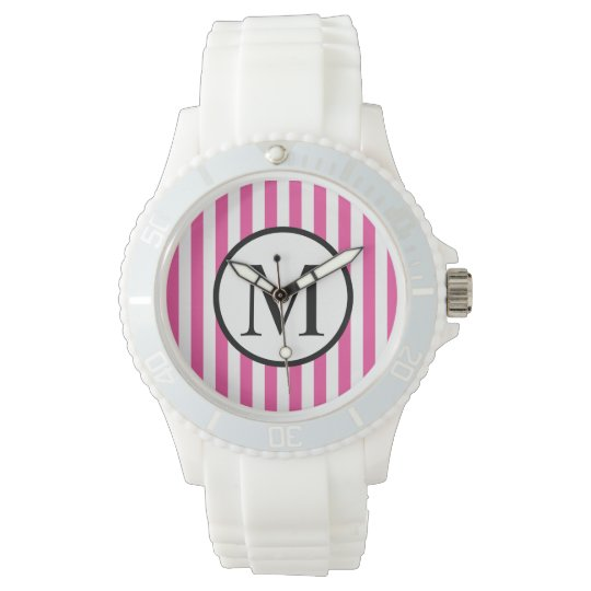 Simple Monogram with Pink Vertical Stripes Watch