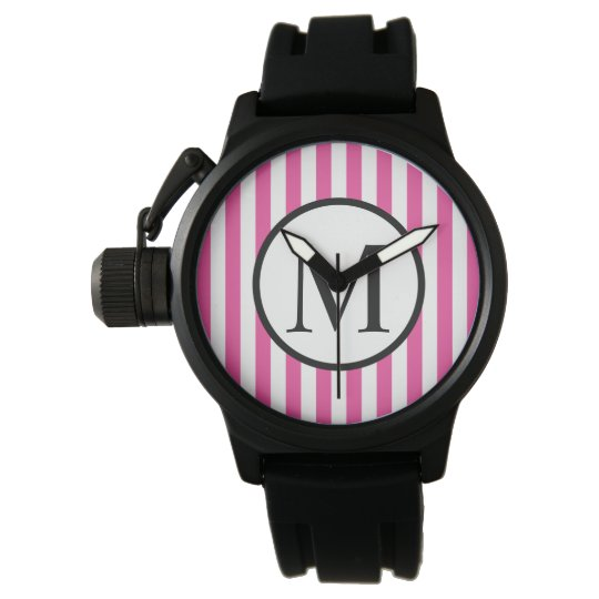 Simple Monogram with Pink Vertical Stripes Wrist Watch