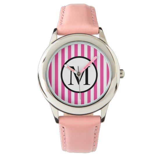 Simple Monogram with Pink Vertical Stripes Wrist Watches