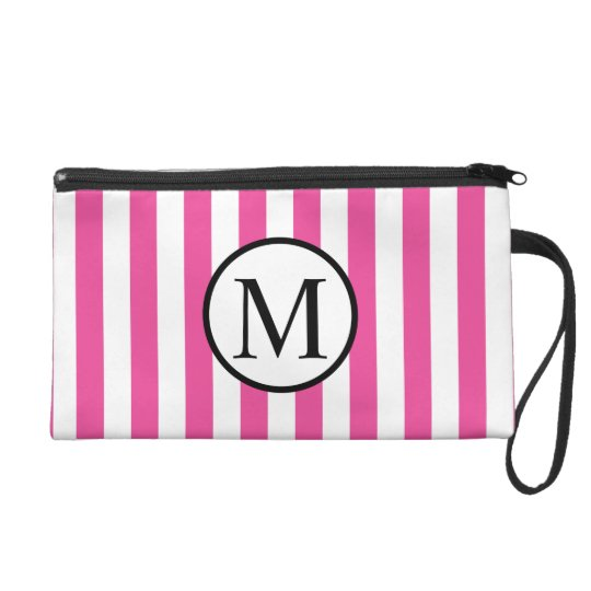 Simple Monogram with Pink Vertical Stripes Wristlet