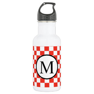 Simple Monogram with Red Checkerboard