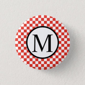 Simple Monogram with Red Checkerboard 1 Inch Round Button