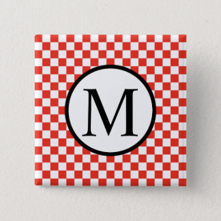 Simple Monogram with Red Checkerboard 2 Inch Square Button