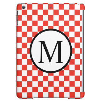 Simple Monogram with Red Checkerboard Cover For iPad Air