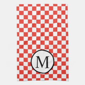 Simple Monogram with Red Checkerboard Kitchen Towel