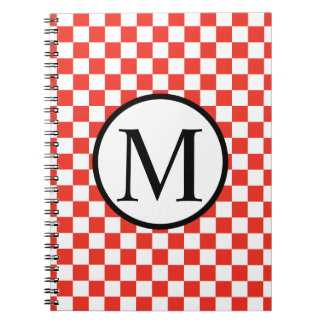 Simple Monogram with Red Checkerboard Notebooks