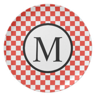 Simple Monogram with Red Checkerboard Plate