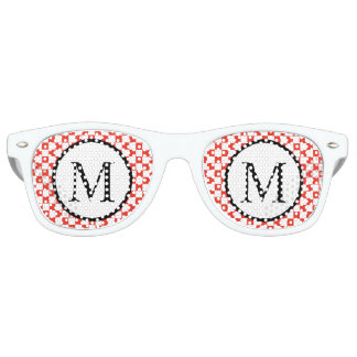 Simple Monogram with Red Checkerboard Retro Sunglasses