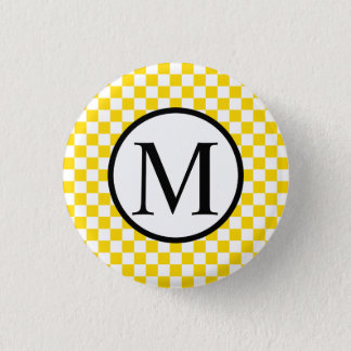 Simple Monogram with Yellow Checkerboard 1 Inch Round Button