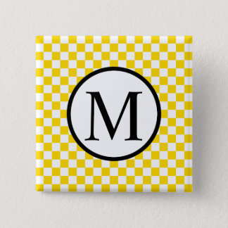 Simple Monogram with Yellow Checkerboard 2 Inch Square Button