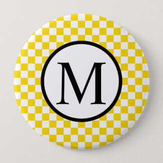 Simple Monogram with Yellow Checkerboard 4 Inch Round Button