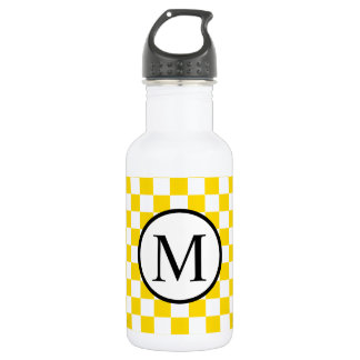 Simple Monogram with Yellow Checkerboard 532 Ml Water Bottle