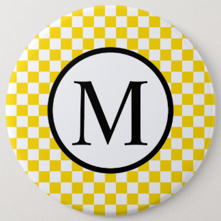 Simple Monogram with Yellow Checkerboard 6 Inch Round Button