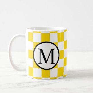 Simple Monogram with Yellow Checkerboard Coffee Mug