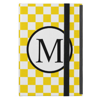 Simple Monogram with Yellow Checkerboard Cover For iPad Mini