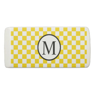 Simple Monogram with Yellow Checkerboard Eraser