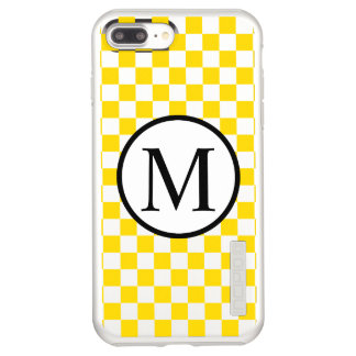 Simple Monogram with Yellow Checkerboard Incipio DualPro Shine iPhone 7 Plus Case