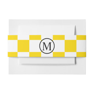 Simple Monogram with Yellow Checkerboard Invitation Belly Band