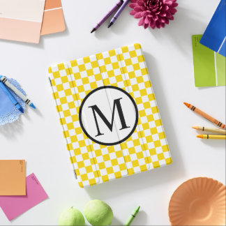 Simple Monogram with Yellow Checkerboard iPad Cover