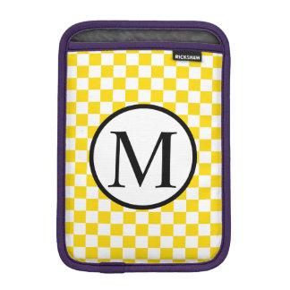 Simple Monogram with Yellow Checkerboard iPad Mini Sleeve