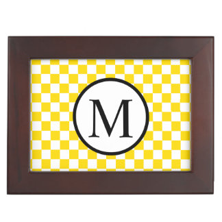 Simple Monogram with Yellow Checkerboard Keepsake Box