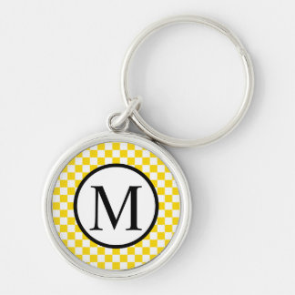Simple Monogram with Yellow Checkerboard Keychain