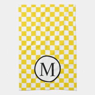 Simple Monogram with Yellow Checkerboard Kitchen Towel