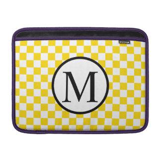 Simple Monogram with Yellow Checkerboard MacBook Sleeve