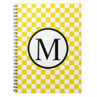 Simple Monogram with Yellow Checkerboard Notebook