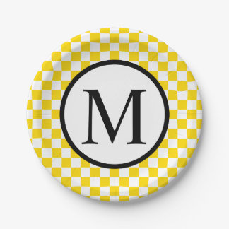 Simple Monogram with Yellow Checkerboard Paper Plate