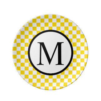 Simple Monogram with Yellow Checkerboard Plate