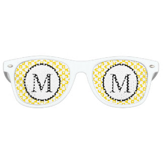 Simple Monogram with Yellow Checkerboard Retro Sunglasses