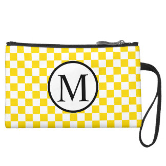 Simple Monogram with Yellow Checkerboard Suede Wristlet