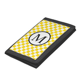 Simple Monogram with Yellow Checkerboard Trifold Wallet
