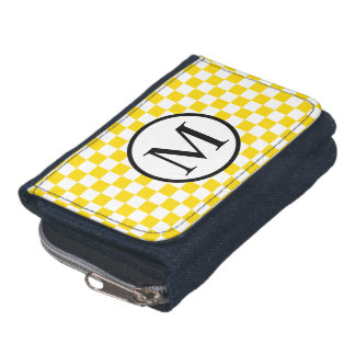 Simple Monogram with Yellow Checkerboard Wallets