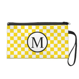 Simple Monogram with Yellow Checkerboard Wristlet