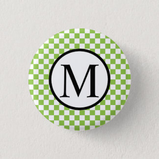 Simple Monogram with Yellow Green Checkerboard 1 Inch Round Button